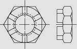Гайка шестигранная корончатая низкая DIN 979 (EN ISO 7038)