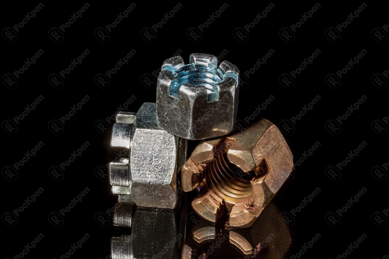 Гайка шестигранная корончатая (исполнение 1 и 2) ГОСТ 5918-73, 5932-73 (DIN 935,EN ISO 7035, 7036, 7037)