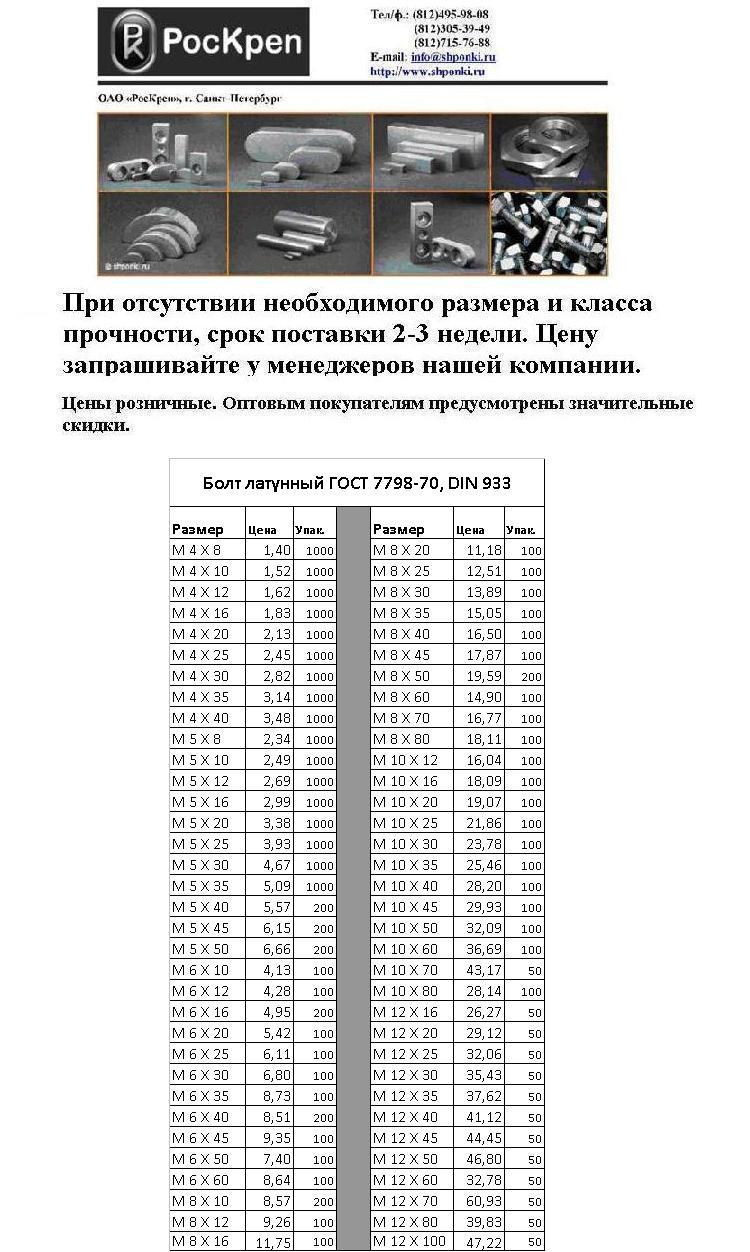 Болт латунный ГОСТ 7798-70, DIN 933
