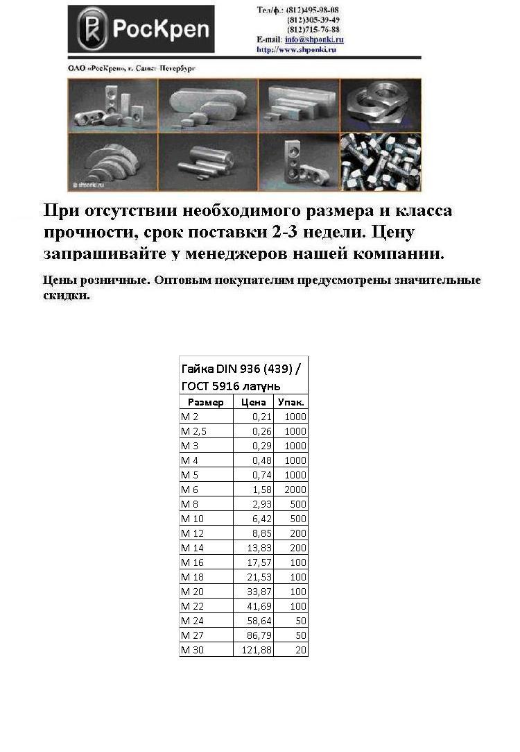Гайка латунная ГОСТ 5916, DIN 936