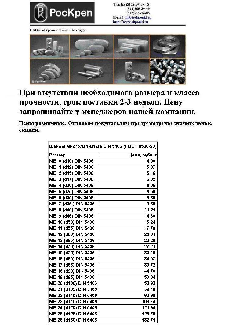 Шайба многолапчатая ГОСТ 8530-90 (DIN 5406 MB)